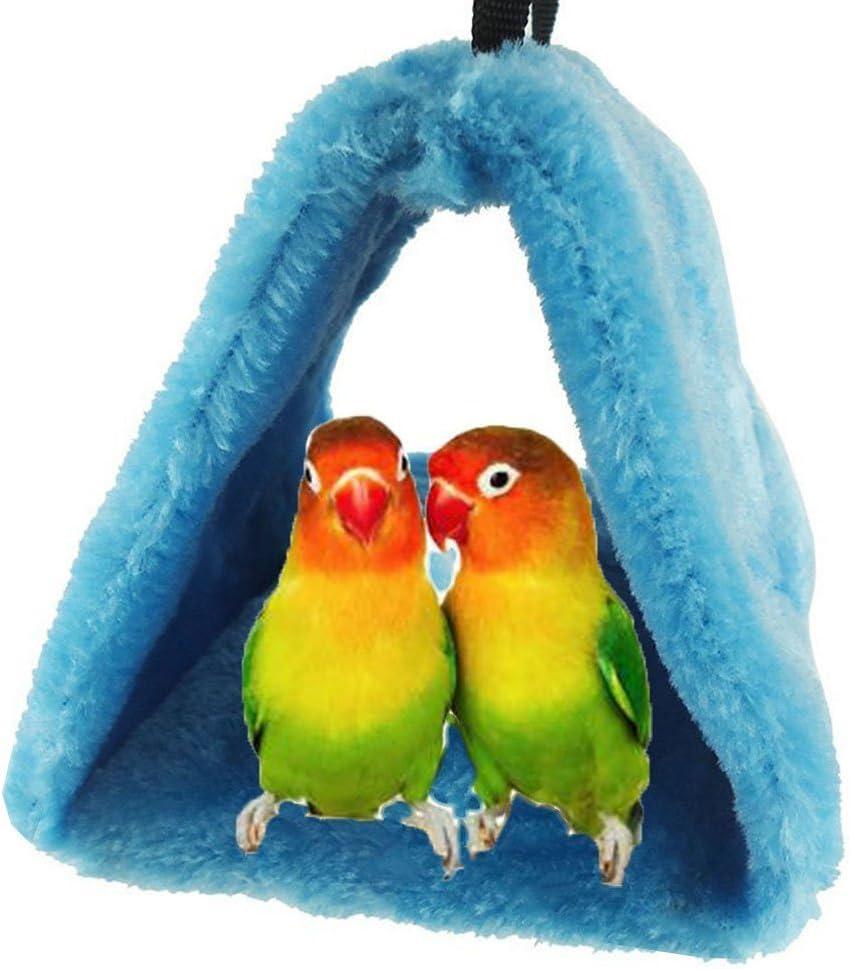 Bello Luna Loro Azul Nido de pájaro Mascota Nido de Invierno cálido Hamaca Colgante Cueva Jaula de Felpa Happy Hut Tienda de Cama (S)