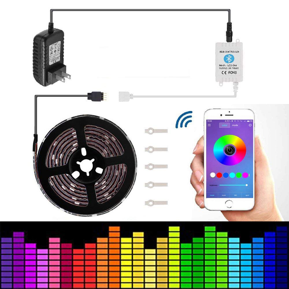 Led strip lights 16.4ft/5m Non-Waterproof LED Lights Kit 5050 RGB Rope Lights With Bluetooth Smartphone APP Controller & 12V 3A Power Supply for ios and Android System
