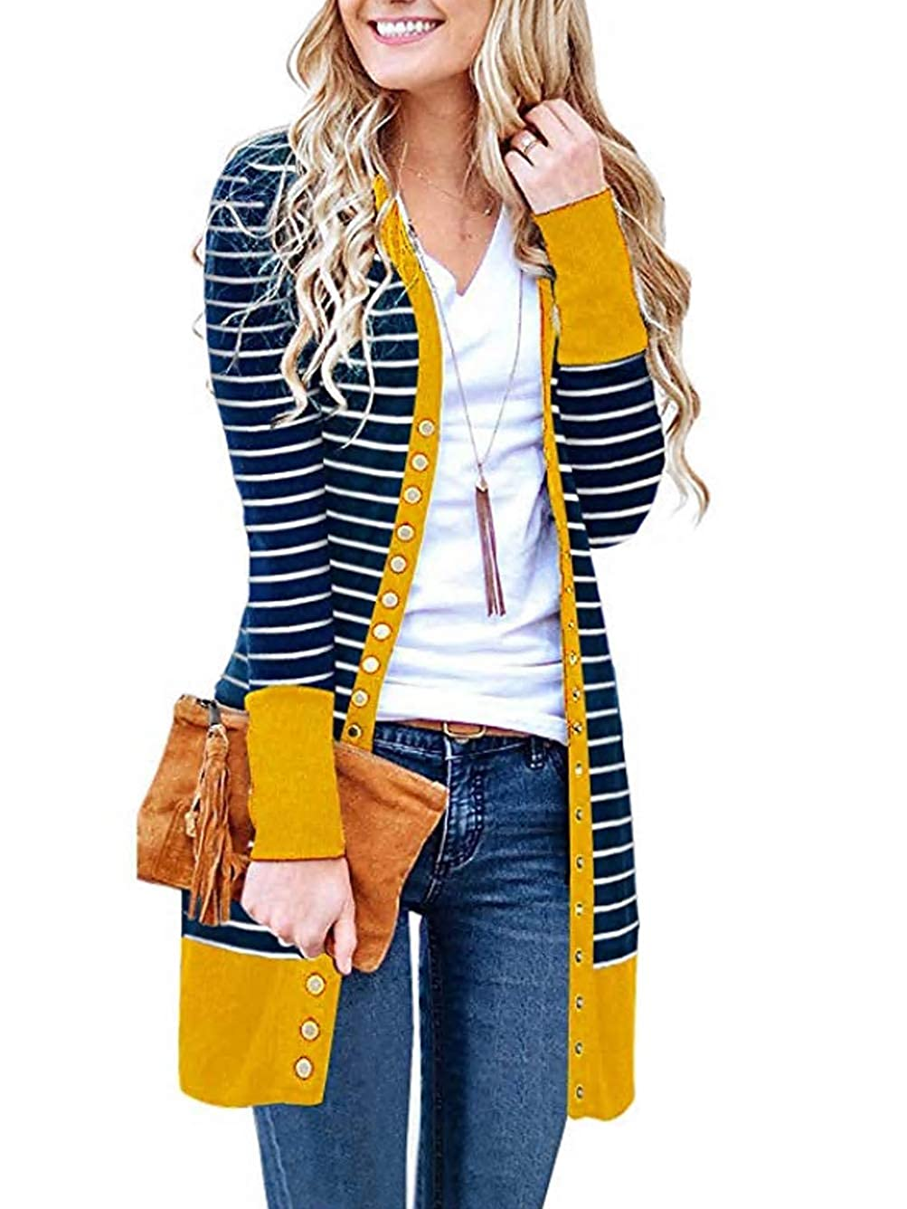 Stripemustard Famulily Women's Snap Button Down Long Sleeve VNeck Soft Knit Long Cardigan Sweater