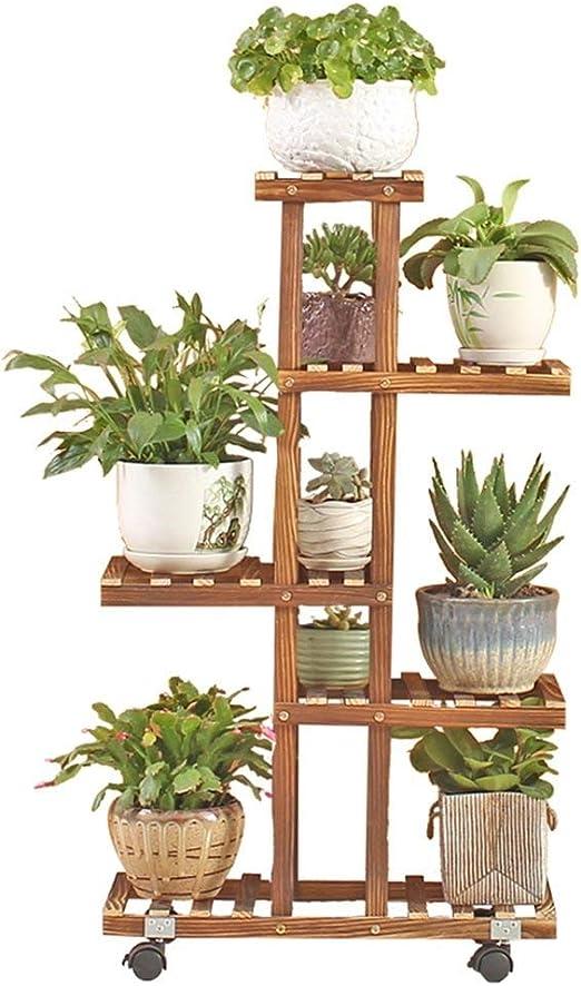 Soporte para macetas de madera maciza con múltiples capas, vertical, antiséptico, para interior y salón, organizador de zapatos: Amazon.es: Jardín