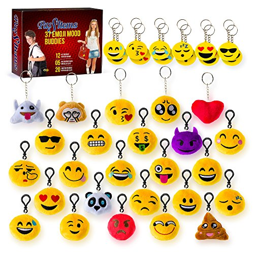 37 Emoji Party Supplies Set – Emoji Keychain Plush Set for Kids and Adults – Emoji Party Favors Express Positive Emotions and Moods