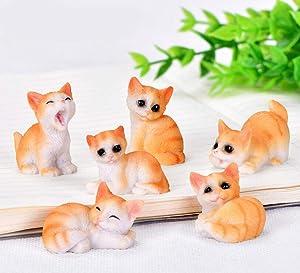 Ruzucoda Miniature Cat Figurines Kitty Animal Figure Fairy Garden Party Decorations 6 PCS