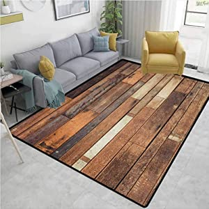 Wooden Geometric Floor Comfort Mats, Rustic Floor Planks Print Grungy Look Farm House Country Style Walnut Oak Grain Image, Easy Maintenance Area Rug Living Room Bedroom Carpet(3'x 5') Brown