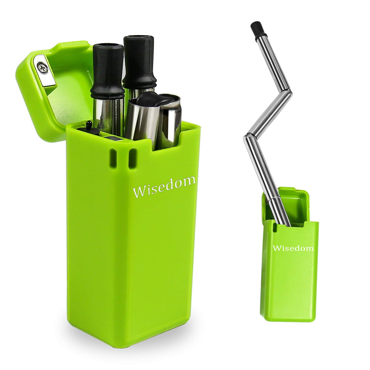 Collapsible Straw Wisedom,BPA Free Foldable Reusable Stainless Steel Drinking Straw Portable with Case and Easy Cleaning Tool.
