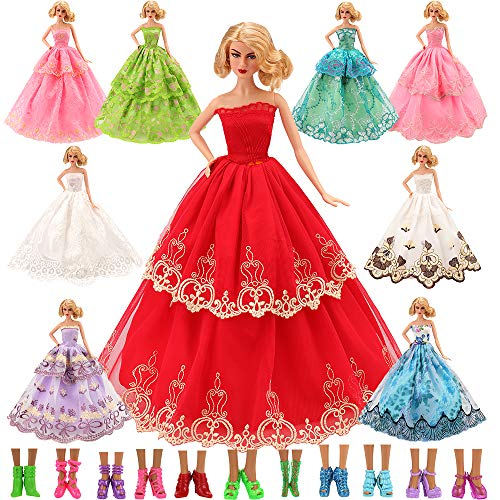 Barwa 15 Items = 5 Pcs Quality Fashion Dresses Clothes 10 Shoes for Barbie Doll Gift by Barwa