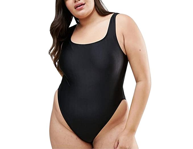 b439295113 QIANMEI Women Plus Size One-Piece Swimsuit High Cut Low Back Bathing Suit  Beach Swimwear