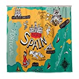 Top Carpenter Map Of Spain Bath Shower Curtain Liners - 72x72in - 100% Polyester - Mildew Resistant with C-Shaped Curtain Hook Modern Bathroom Decoration 1 Panel