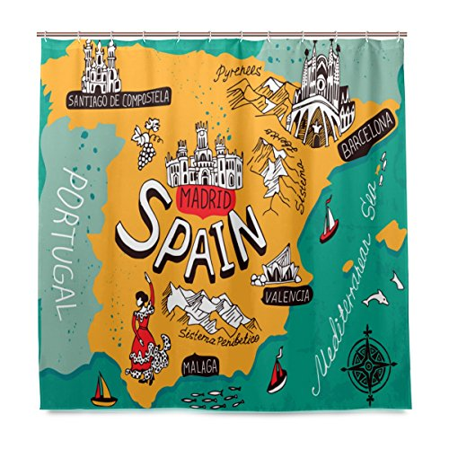 Top Carpenter Map Of Spain Bath Shower Curtain Liners - 72x72in - 100% Polyester - Mildew Resistant with C-Shaped Curtain Hook Modern Bathroom Decoration 1 Panel by Top Carpenter