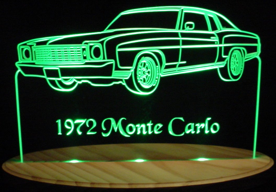 1972 Monte Carlo Acrylic Lighted Edge Lit 11-13'' LED Car Sign / Light Up Plaque 72 VVD1 Full Size Made in USA