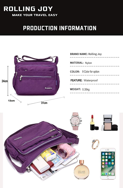Multi Pocket Leisure Simple Messenger Cross Body Nylon Waterproof Lady Shoulder Bag,fashionmeter