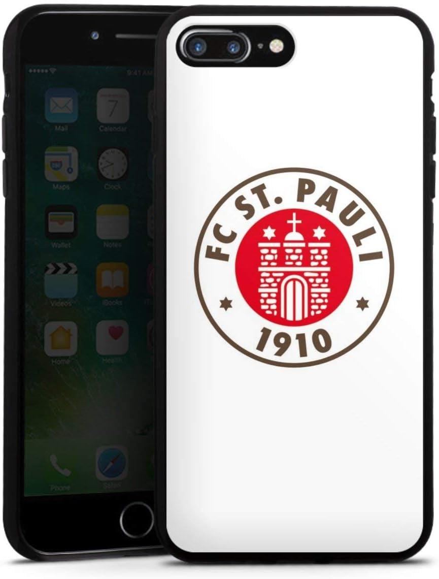 DeinDesign Silikon H/ülle kompatibel mit Apple iPhone 8 Plus Case schwarz Handyh/ülle Offizielles Lizenzprodukt FC St Pauli Totenkopf