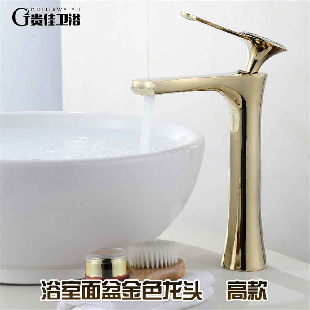 SADASD European High-End Copper Bathroom Basin Faucet Antique Heightening Wash Basin Sink Taps Single Hole Single Handle Ceramic Valve Hot And Cold Water Mixer Tap With G1 2 Hose