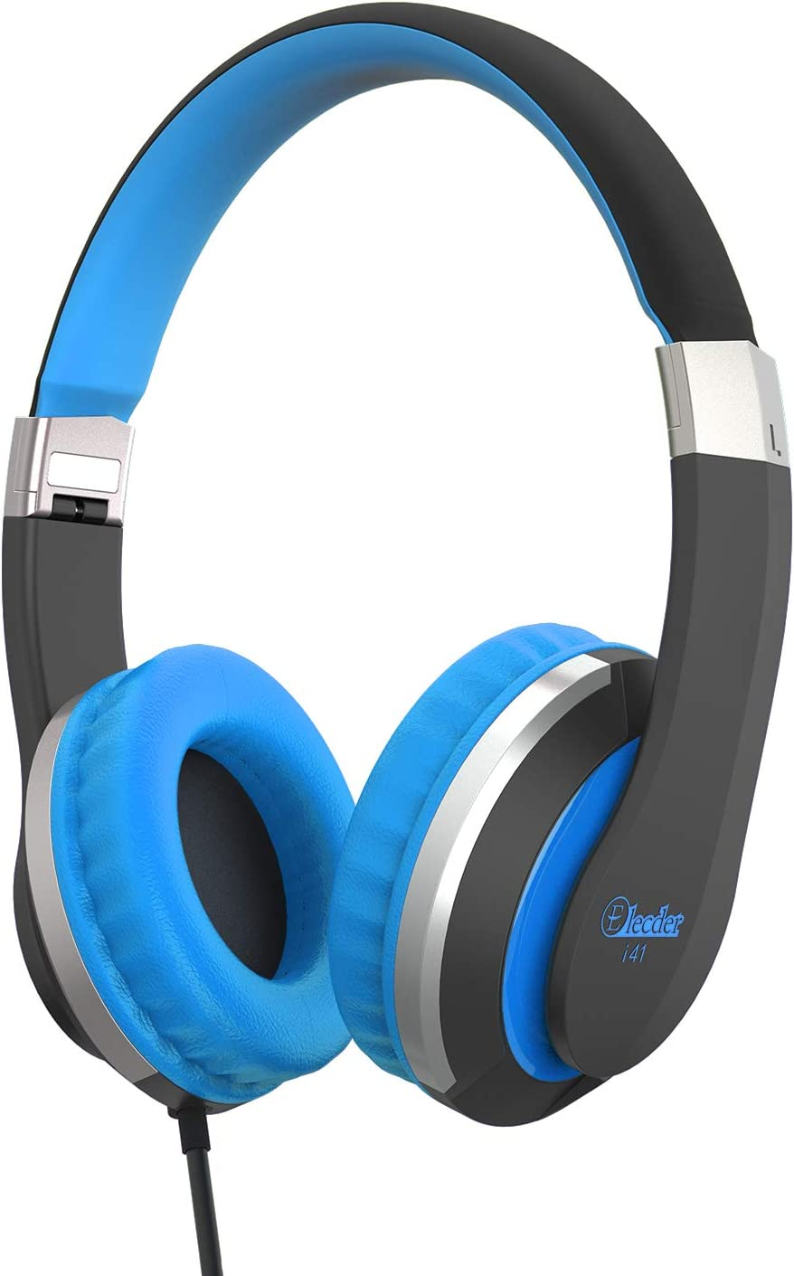 Kids Headphones Elecder i41 Headphones for Kids Children Girls Boys Teens Foldable Adjustable On Ear Headphones with 3.5mm Jack for iPad Cellphones Computer Kindle Airplane School Black&Blue