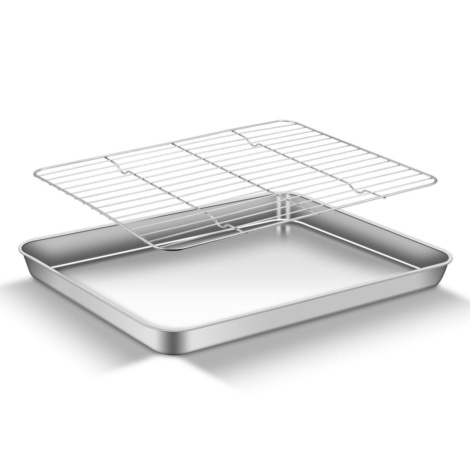 AEMIAO Baking Sheet with Rack Set, Stainless Steel Baking Sheet Pan Cooling Rack Professional Wire Mesh Cake Cooling Rack, Healthy & Non Toxic, Mirror Polish & Easy Clean - Dishwasher Safe