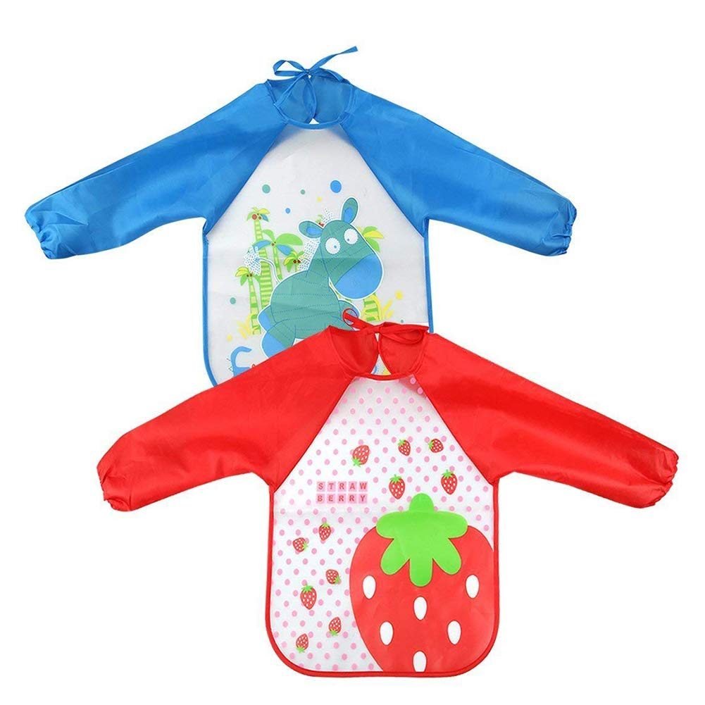 DierCosy 2Pcs Children Apron Unisex Sleeved Feeding Bibs Waterproof Long-sleeved Smock Apron Bib for Eating and Painting(Red Strawberry, Blue Donkey) BabyProducts