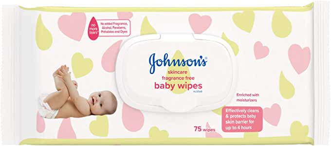 Johnson's Baby Skincare Fragrance Free Wipes, 75 Sheets