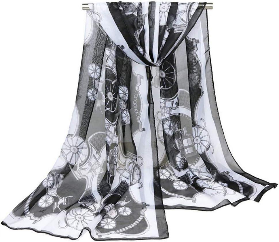HYMWAN Bufanda Carruaje De Caballos Impreso Bufanda De Gasa De Poliéster Bufandas Finas Clásicas para Mujer Toalla De Playa Chal Accesorios De Moda para Niña