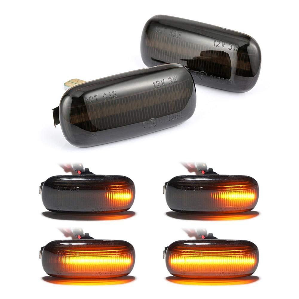 Calmson 2 Pack Car Side Marker Lights Led Dynamic Turn Signal Light Sequential Blinker Light for Audi A3 S3 8P A4 S4 RS4 B6 B7 B8 A6 S6 RS6 C5 C7