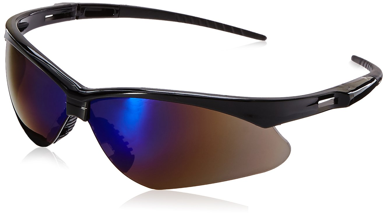 Jackson Safety 3000358 Nemesis Safety Glasses Black Frame / Blue Mirror Lens (Pack of 12)