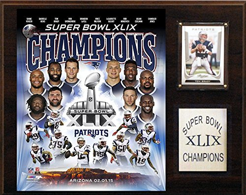 C&I Collectables NFL New England Patriots Super Bowl XLIXI Champions Plaque, 12 x 15-Inch