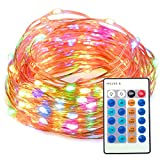 TaoTronics Dimmable Waterproof 100 LED String Lights with Remote Control for Indoor and Outdoor - 33 Feet Copper Wire - Multi-color