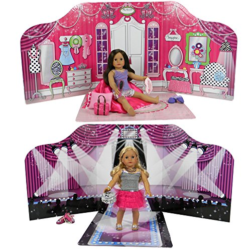 """Sophia's 18 """" Doll Play Scene Backdrop & Floor Board, serves as an 18 Inch Doll House for American Girl, Barbie, Teddy Bears. Reversible Doll Fashion Runway & American Doll Bed Room Furniture from Sophia's"""