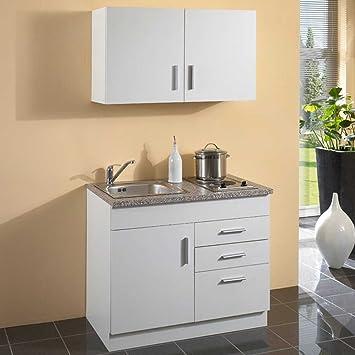 Pharao24 miniküche 100 cm küchenzeile weiss