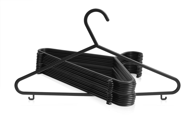 Negras, 37/cm de ancho para adulto Ariana Pack de 20/perchas de pl/ástico dise/ñadas para ropa delicada