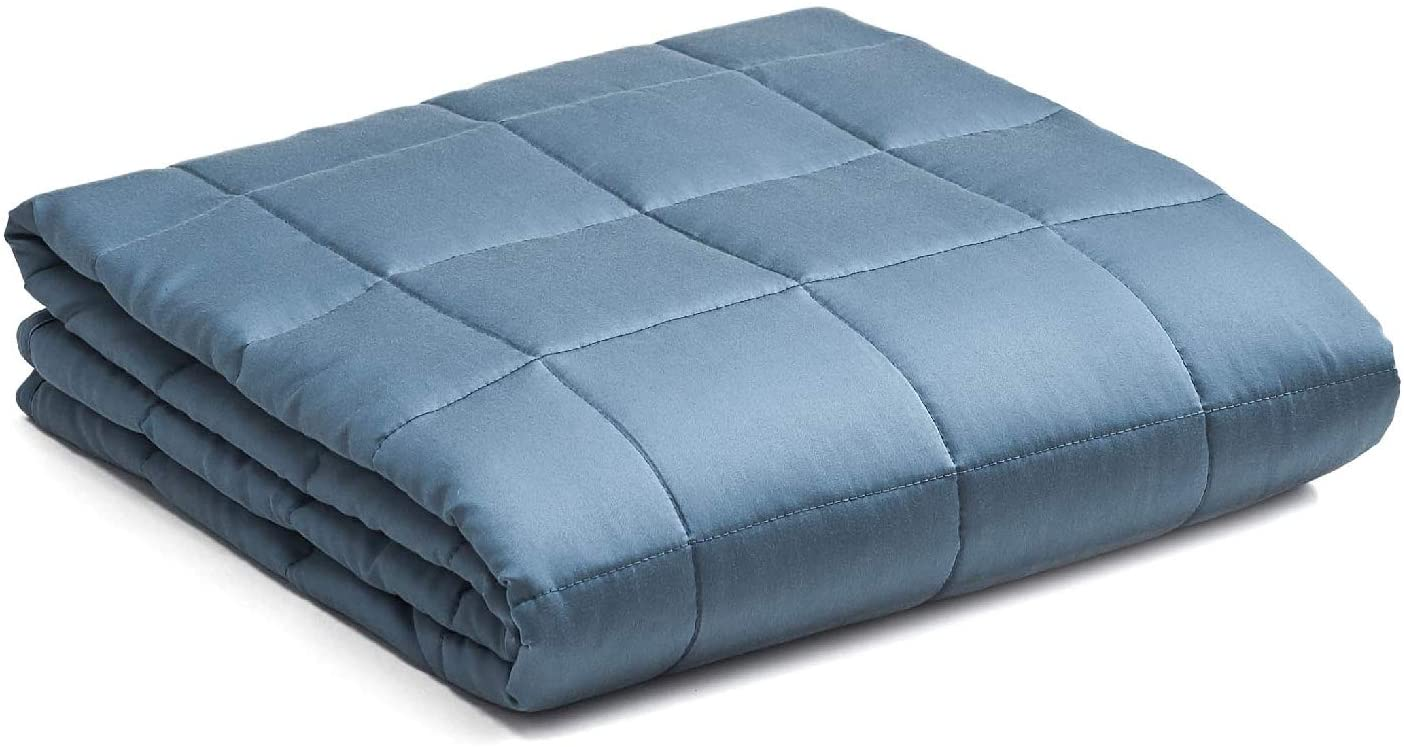 YnM Bamboo Weighted Blanket — Natural Bamboo Oeko-Tex Certified Material with Premium Glass Beads (Blue Grey, 80''x87'' 20lbs), 90~160lb Persons Sharing Use on Queen/King Bed | A Duvet Included