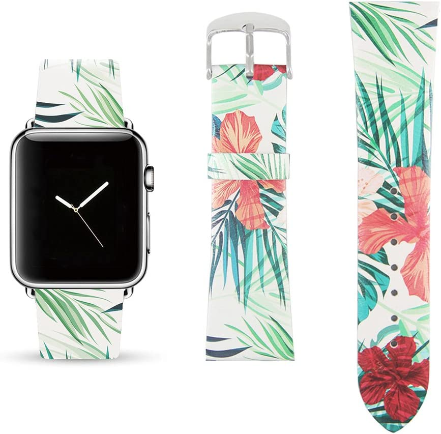 Tropical Floral Replacement Band Compatible for iWatch 38mm/40mm Pastel Bay Wrist Band PU Leather Strap for Apple Watch Smartwatch Series 4 3 2 1 Version