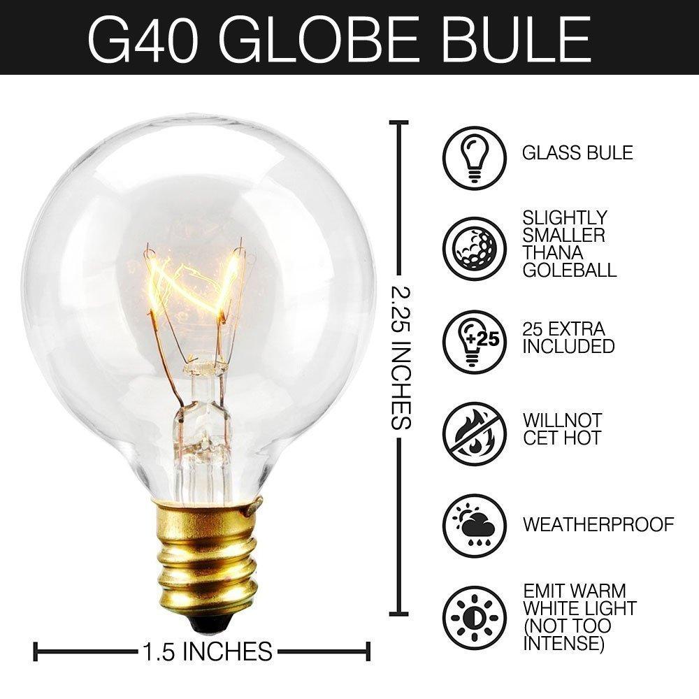 Outdoor Festoon String Lights,25ft Waterproof G40 Bulbs Listed For Indoor &  Outdoor Décor,Wedding Light, Backyard Light,Patio,Cafe,Garden,Festoon Party  ...