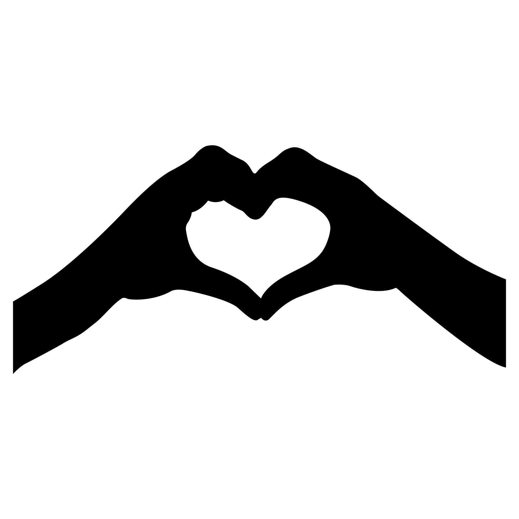 Heart Hand Sign Silhouette - Small - Smartphones, Tablets, and Computers - Vinyl Wall Art Decal for Homes, Offices, Kids Rooms, Nurseries, Schools, High Schools, Colleges, Universities, Interior Designers, Architects, Remodelers