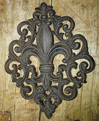 - Huge Cast Iron Fleur De Lis Plaque Finial Garden Sign Home Wall Decor Rustic