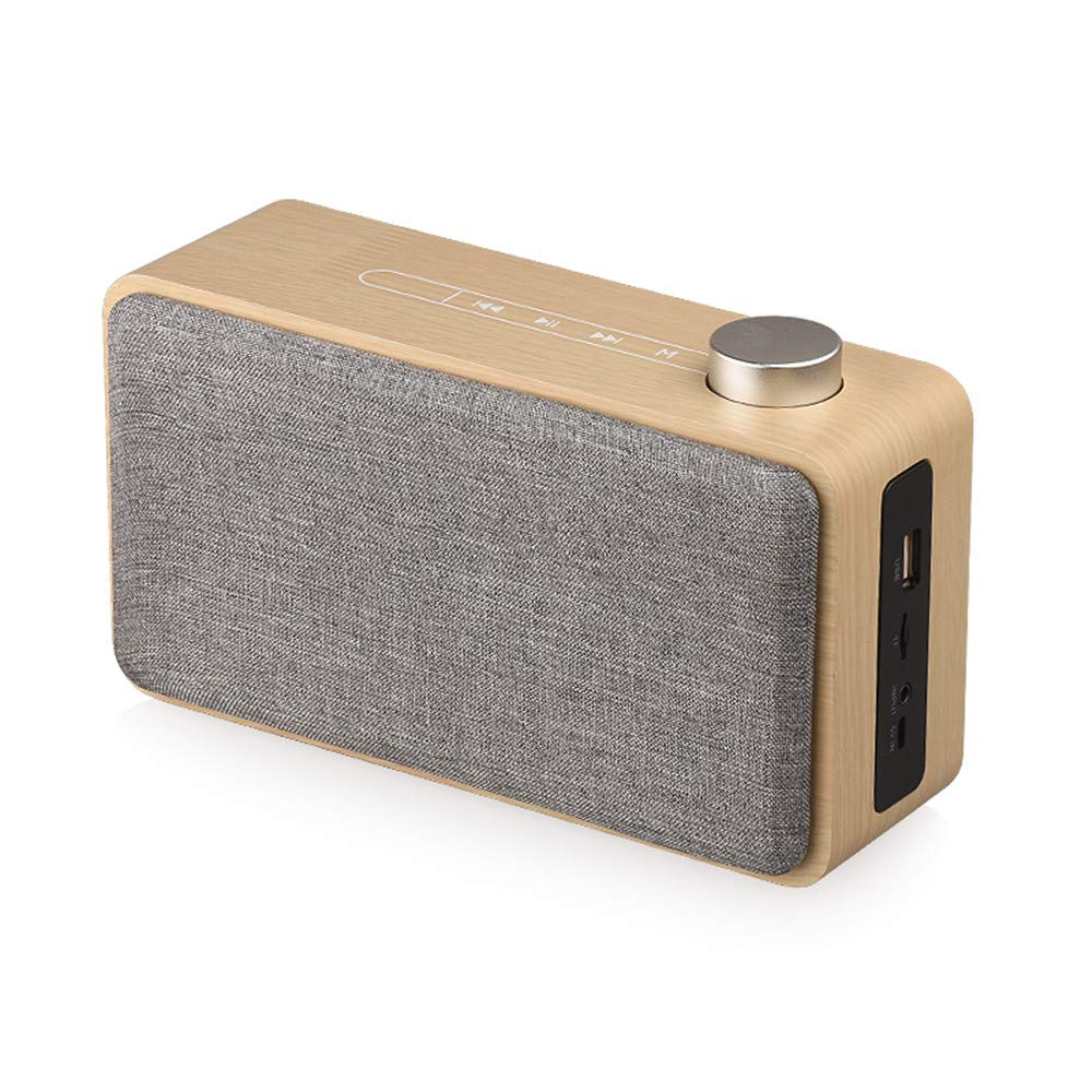 Cell Phone Speaker, TechCode Mini Wireless Speaker Touch Wooden Subwoofer Supports TF AUX USB Handsfree Portable Bluetooth HIFI Stereo Speakers Sound Box for iOS Android, PC/Home Party Camping (A02) by TechCode