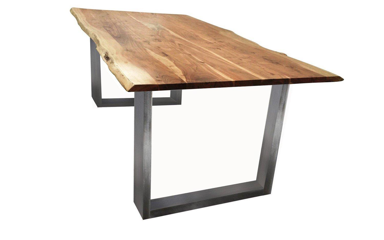 Excl. Baidani Designer Tisch mit Baumkante Gestell silbern - 200 x ...