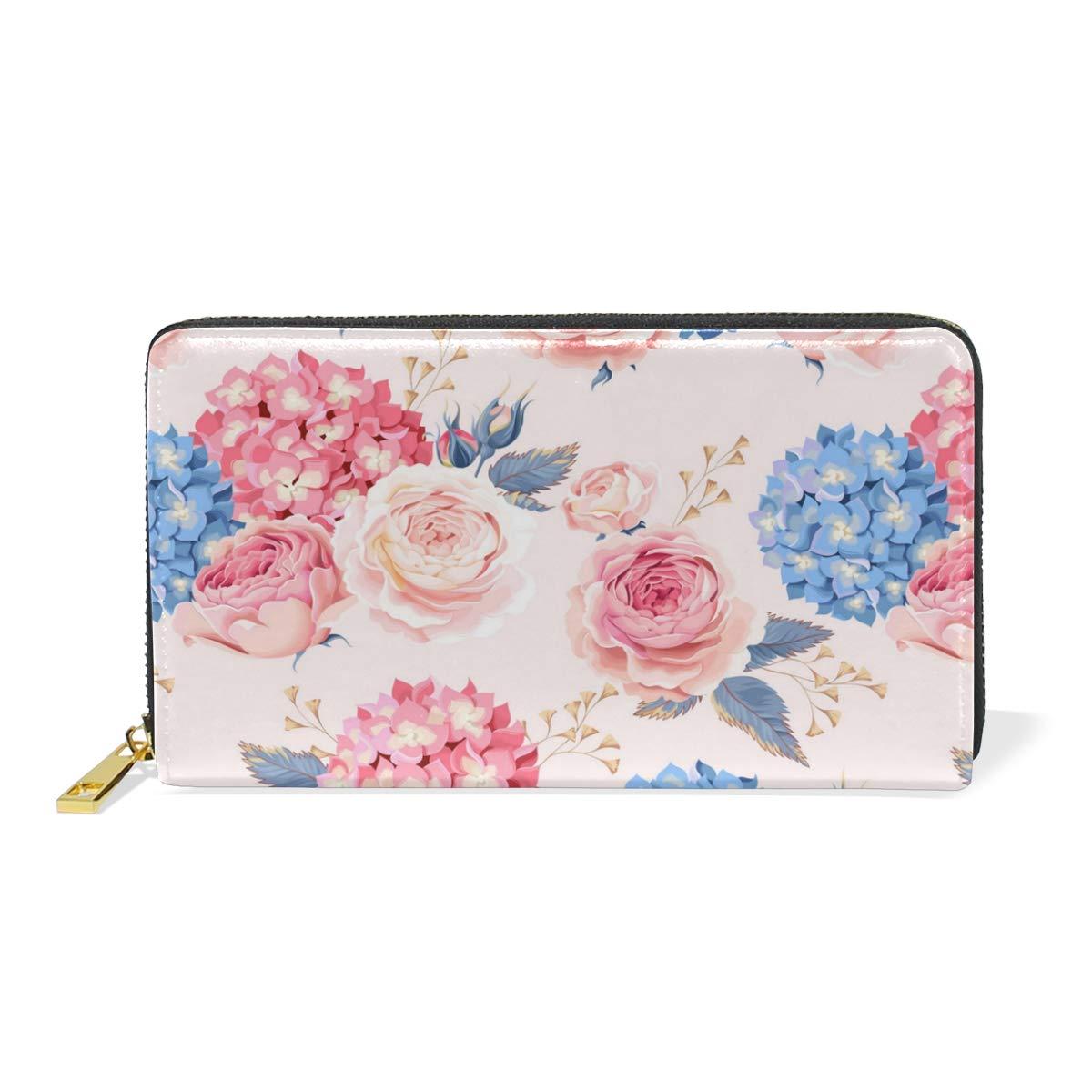 Elegant Zipper Rose Flower Women Wallet Long Wallet Card Holder Purse