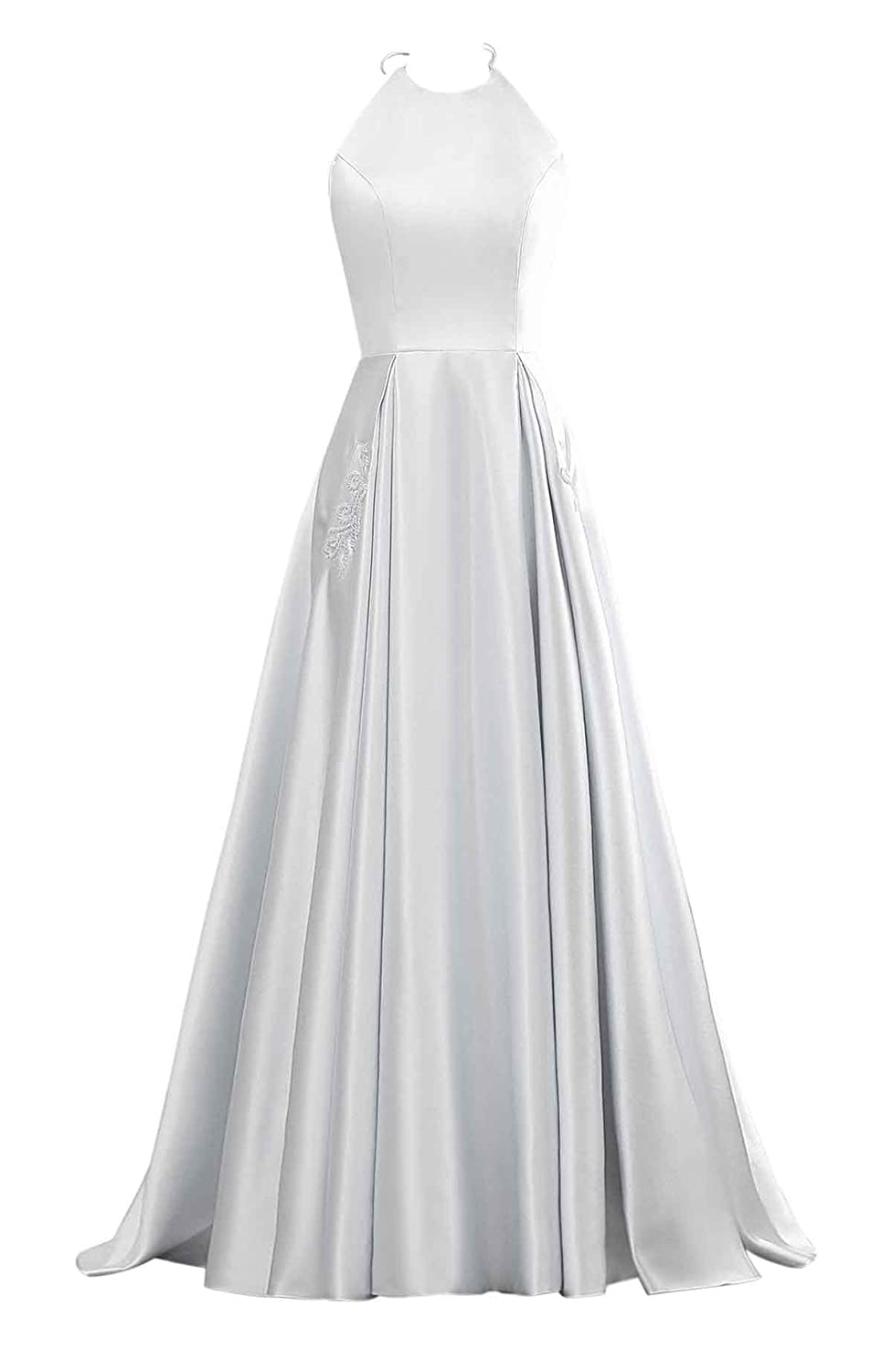 White Changuan Halter Aline Satin Evening Prom Dresses for Women Beaded Long Formal Gown with Pockets