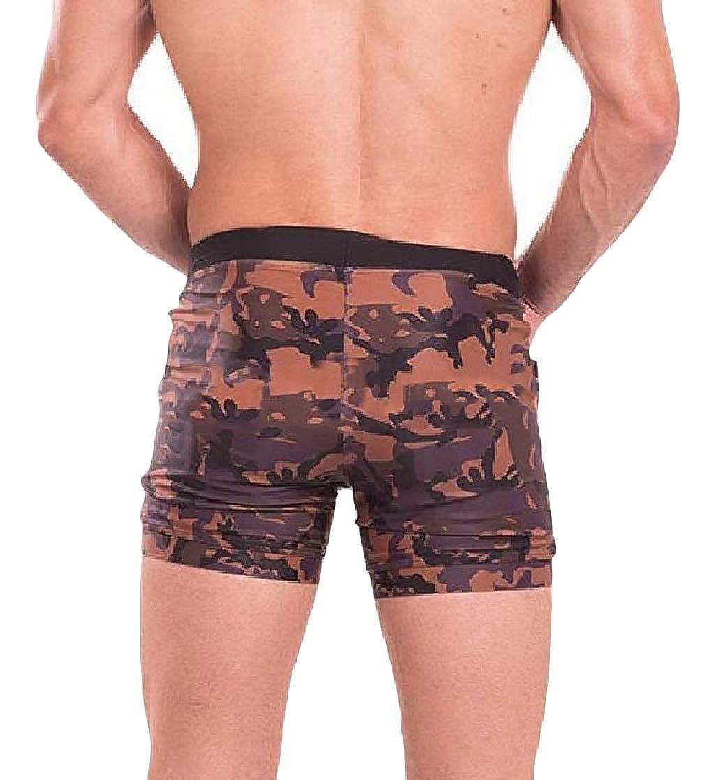 Macondoo Men Camouflage Workout Pants Sports Skinny Elastic Waist Shorts