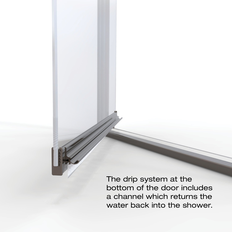 Oil Rubbed Bronze Finish width Basco Armon 31.75 to 33.25 in Semi-Frameless Pivot Shower Door Clear Glass