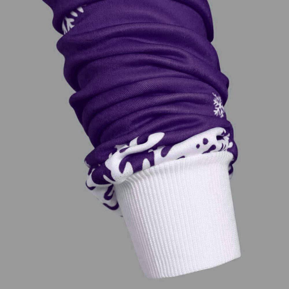 QueenMM Womens Casual Long Sleeve Cozy High Neck Solid Sweatshirt Christmas Snowflake Printed Jumper Tops