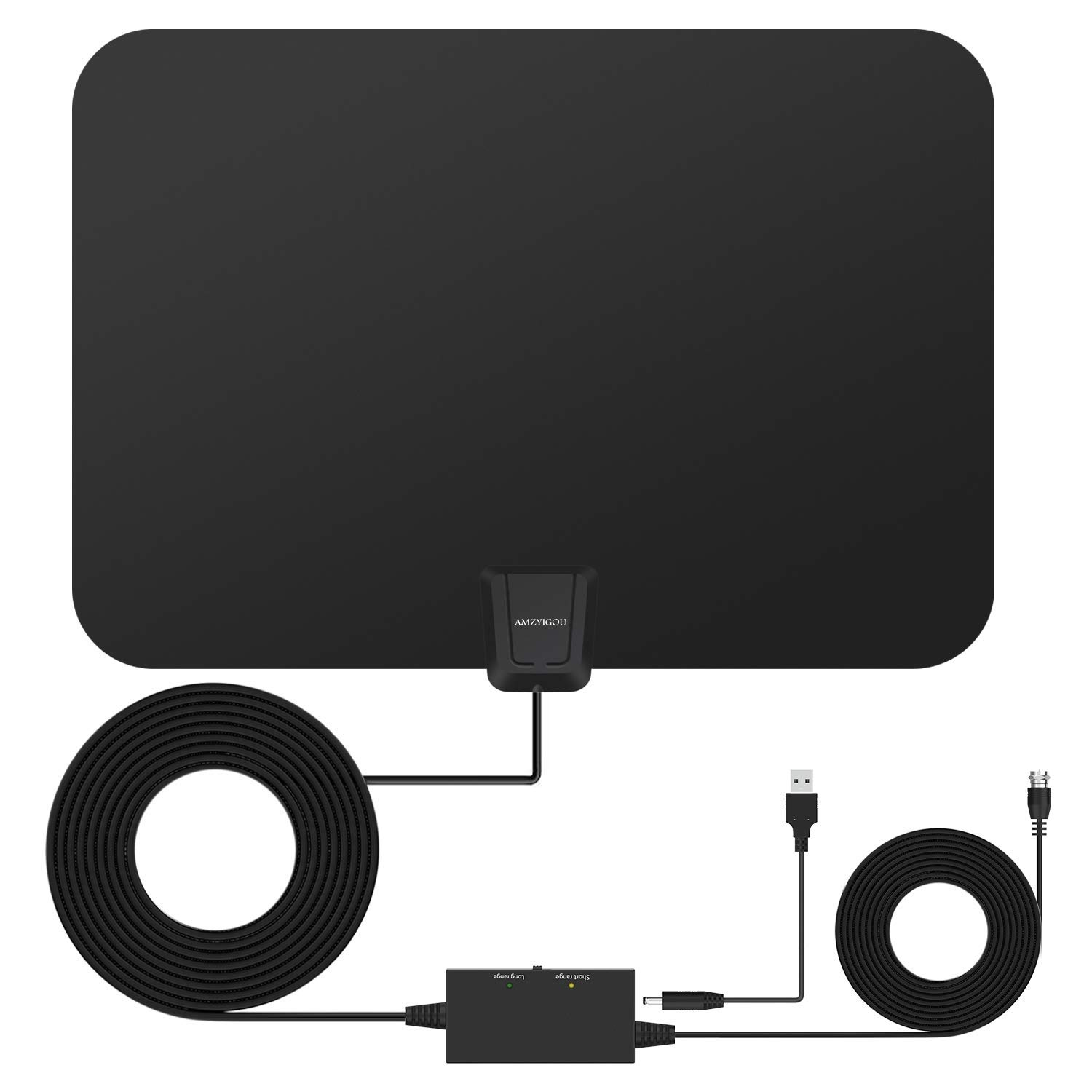 [2018 Newest Version] Amzyigou TV Antenna with 65-80 Miles Long Range, Digital Antenna Support 1080P 4K, Indoor HD Antenna with Amplifier for Free TV Channels
