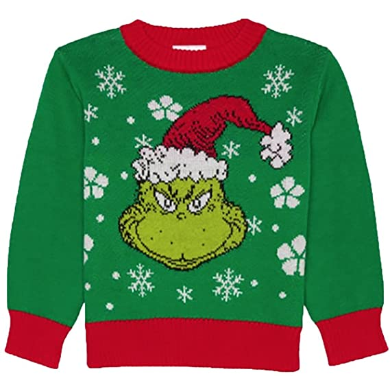 Amazoncom Toddler Dr Seuss The Grinch Green Christmas Sweater 2t