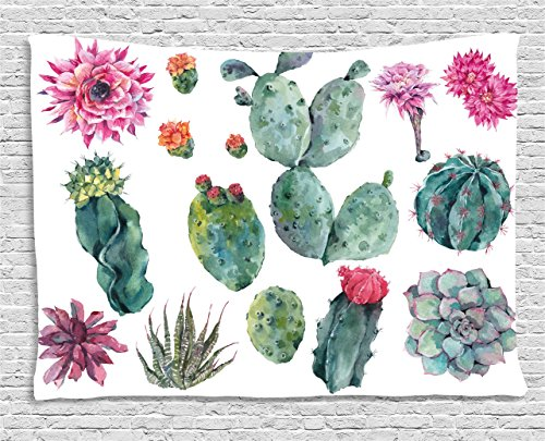Nature Decor Tapestry by Ambesonne, Desert Botanic Herbal Cartoon like Cactus Plant Flower with Spikes Print, Wall Hanging for Bedroom Living Room Dorm, 80 W X 60 L Inches, Green and Pink Cactus Scene Wall Art