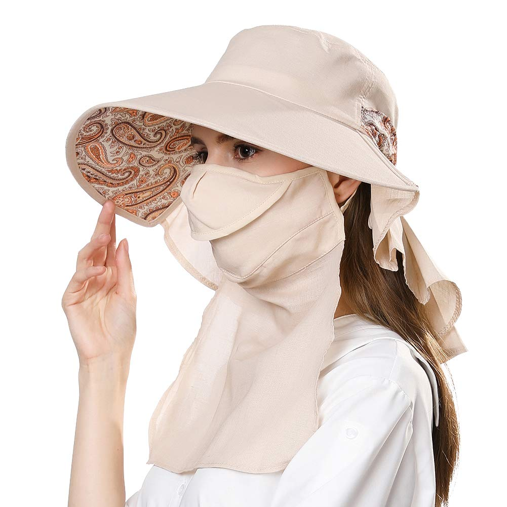 ac694bc0 Amazon.com: Small Head Womens Packable SPF Shade Ponytail Sun Hat Summer  Mask Hiking Gardening Beige 55-57cm: Clothing