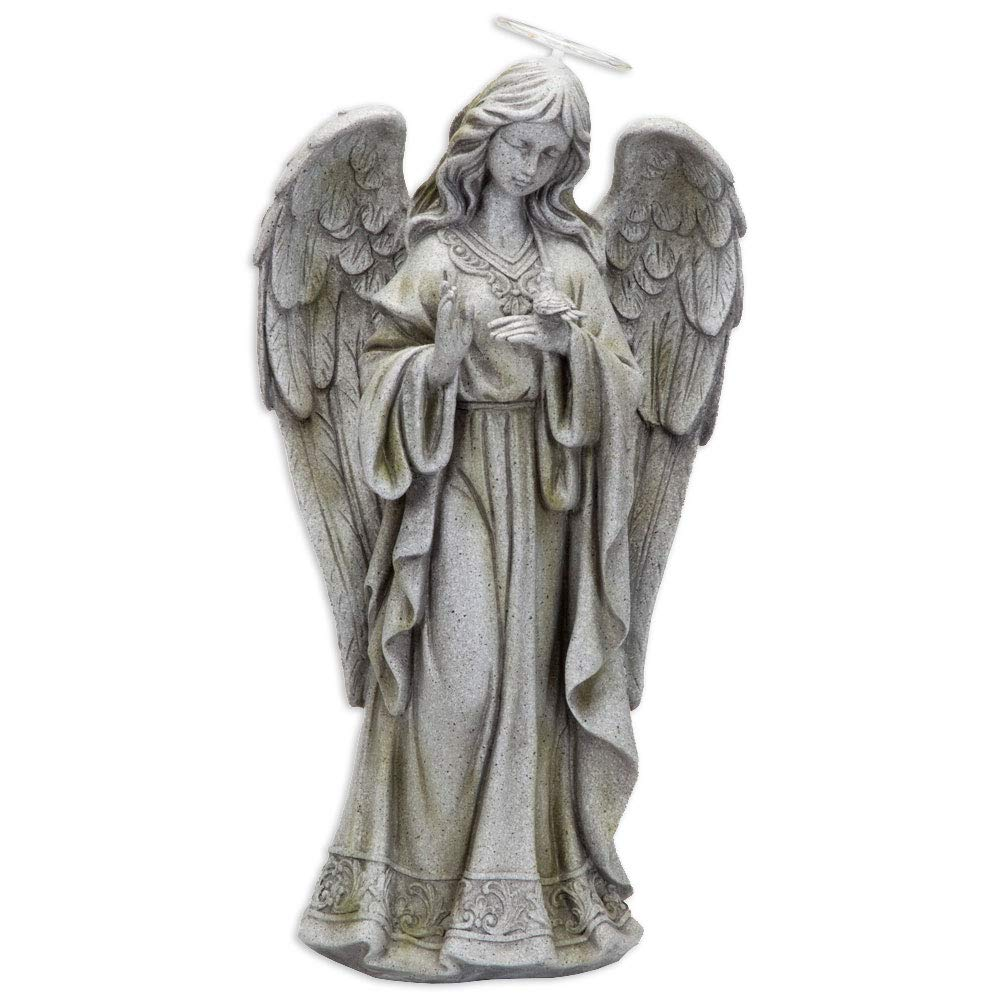 Bits and Pieces - Solar Garden LED Angel of Peace Statue with Light-Up Halo 21 Inches Tall - Beautiful Garden Sculpture Garden Décor Polyresin Statue Yard Art