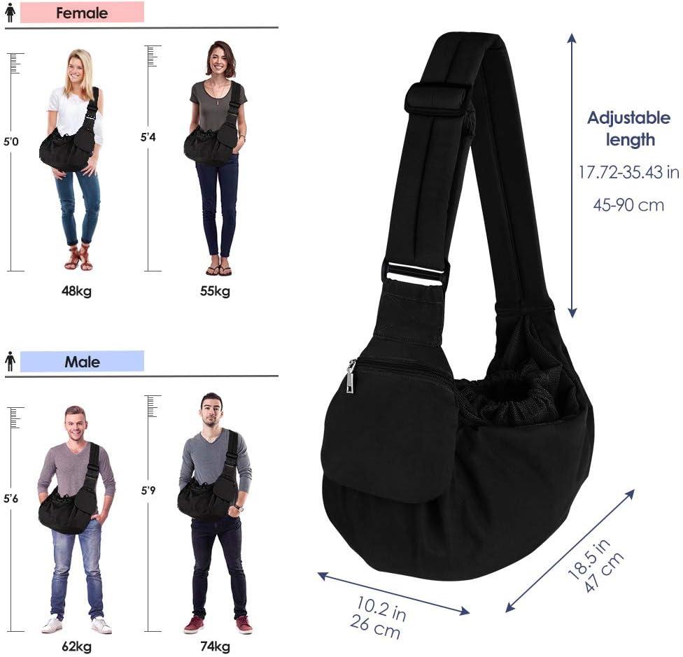 Cat Pet Hand Free Carrier Shoulder Bag Adjustable Padded Shoulder Strap with Front Pocket Dog Carry for Tote Metro Outdoor HomeChi Dog Sling