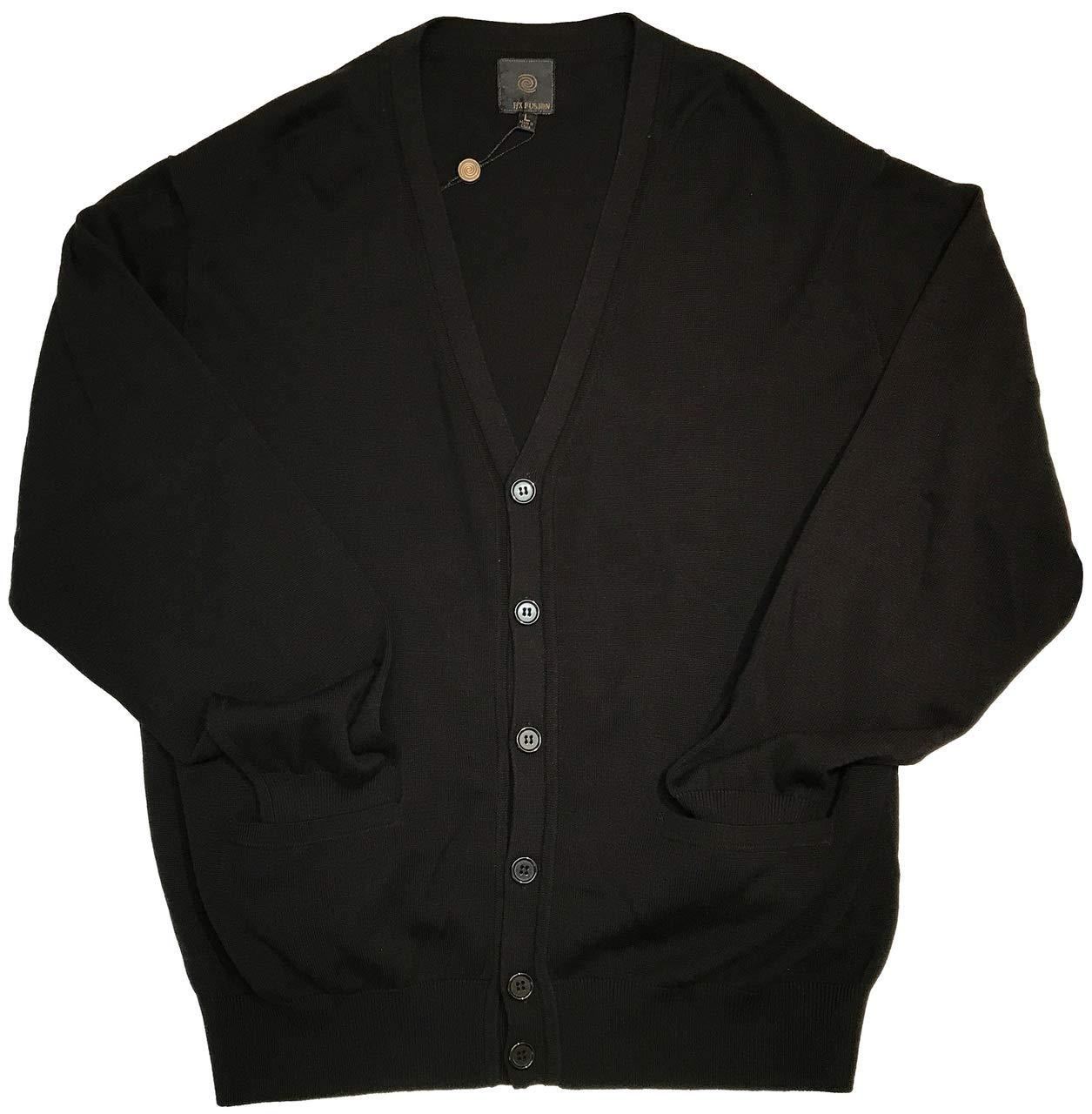 Big and Tall Luxury Cotton Acrylic Blend Cardigan (Black, 5X Big)