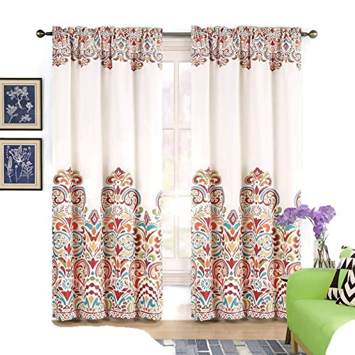2 Panels Clara Room Darkening Rod Pocket Window Curtain Panel Pair (Christmas Uk Tapestry Led)
