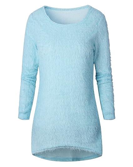 Mujer Larga Manga Suelto Suéter Pull-over Casual Parte Superior Blusa Azul Cielo M