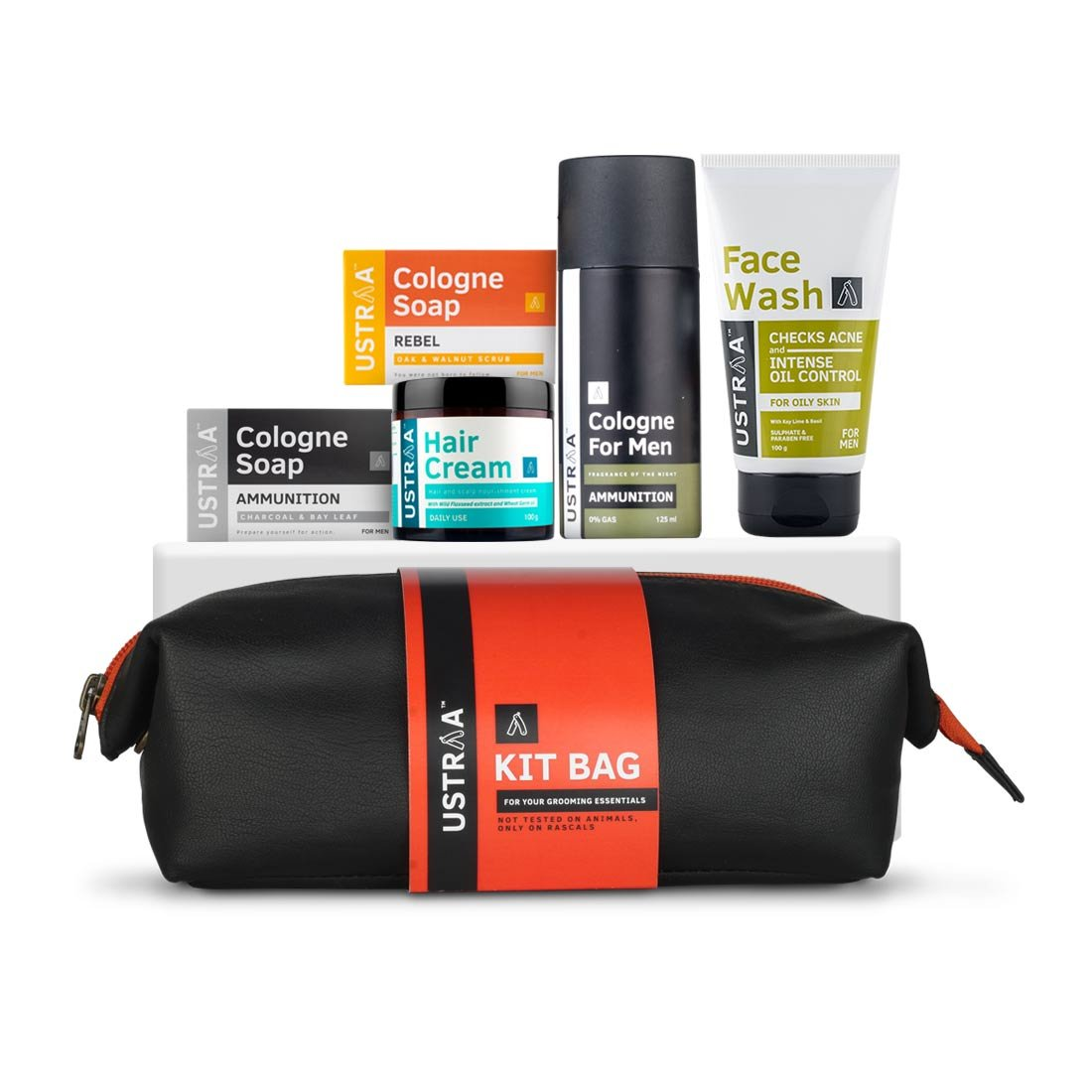 Ustraa Grooming Kit with free Travel Bag- Ammunition Cologne Soap & Rebel Cologne Soap (125 gm), Hair Cream (100 gm), Ammunition Cologne Spray (125 ml) and Face Wash Oily Skin (100 gm)